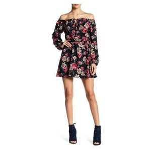 Off-the-Shoulder Black Multi Floral Dress, Size M